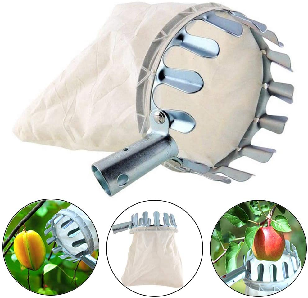 ISKYBOB Metal Fruit Picker Practical Garden Picking Device Bag for Apple Pear Peach Orange