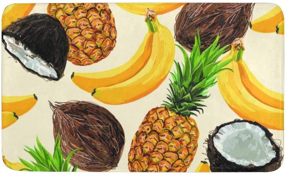 Qearl Bananas Coconuts Pineapples Rug Doormat Indoor Outdoor Entrance, Anti-Slip Bath Floor Kitchen Rugs Door Mat 23.6 X 15.7 Inches Entryway Home Decor