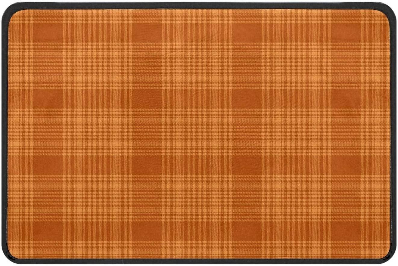 Autumn Orange Yellow Plaid Doormat Rug Easy to Clean Non Slip Backing Entry Way Doormat Floor Mat for Patio Front Door Entry Garage Kitchen Bathroom Laundry Room All Weather Indoor/Outdoor