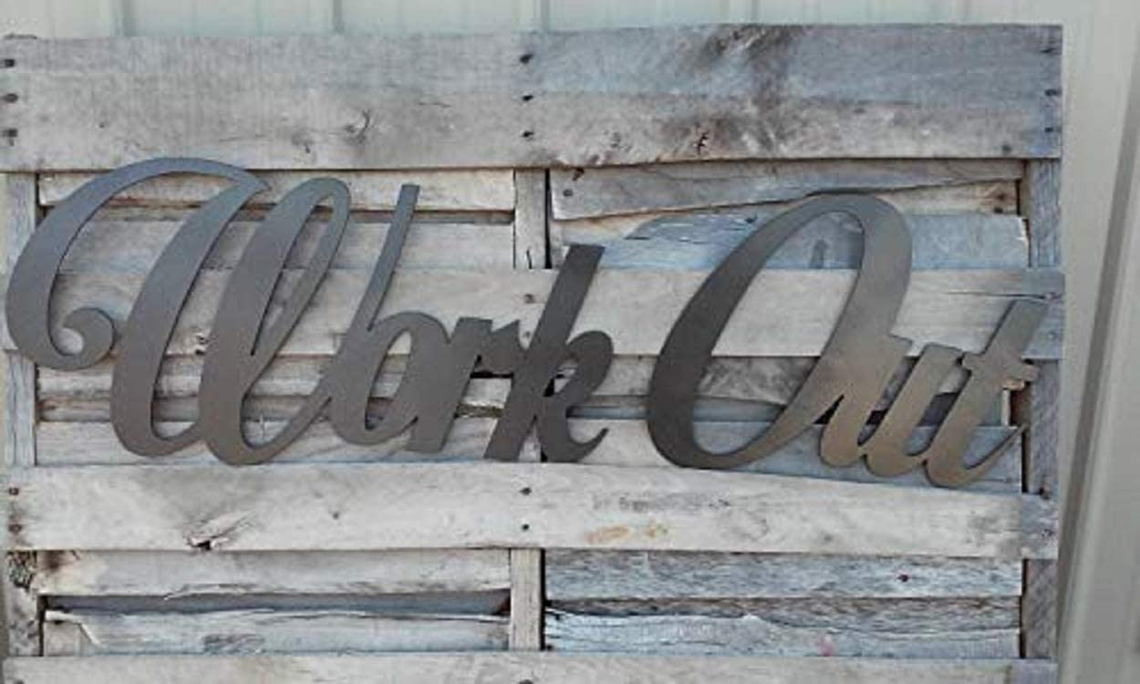 Work Out Metal Sign, Metal Art, Gym Decor, Yoga Decor, Home Decor, Outdoor Wall Art, House Decor, Metal Sign, Indoor, Room Décor