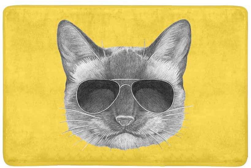 InterestPrint Funny Portrait of Siamese Cat with Sunglasses Doormat Non-Slip Indoor and Outdoor Door Mat Rug Home Decor, Entrance Rug Floor Mats Rubber Backing, 23.6