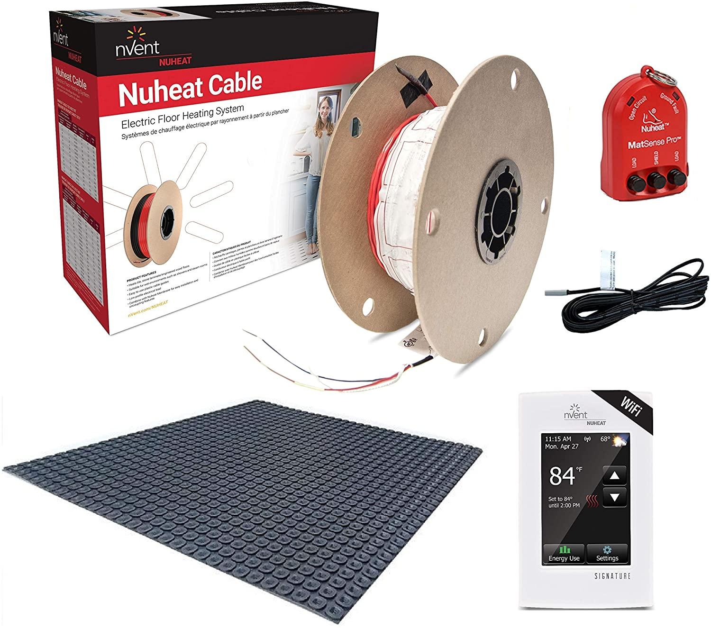 NuHeat N2C065-S-KIT 65 sq ft Signature Comfort Floor Heat Kit with Signature Thermostat, Heat Membrane, Heat Cable, MatSense Pro fault indicator…