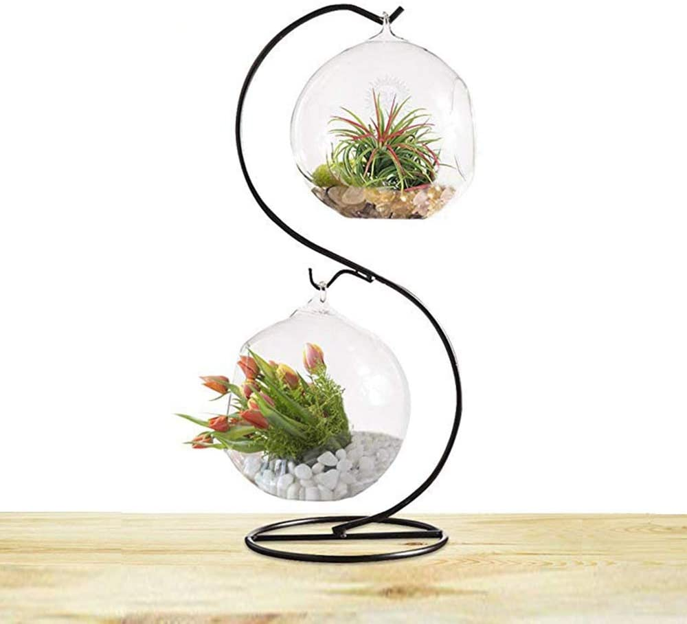 CXLE Ornament Display Stand, Flower Pot Stand Holder Iron Pothook Stand for Hanging Glass Globe Air Plant Terrarium, Witch Ball, Christmas Ornament and Home Wedding Decoration