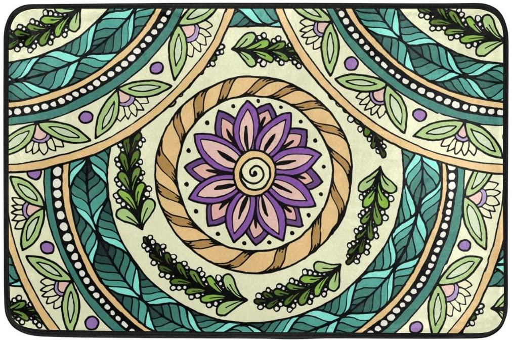 ALAZA Ethnic Mandala Pattern Vintage Doormat Non Slip Floor Mat Indoor Outdoor Entrance Bedroom Dorm Door Mat Home Decor 23.6x15.7 Inches
