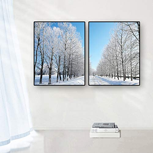 Canessioa 2 Panel Modern Framed Canvas Wall Art for Living Room Bedroom Bathroom Decoration Romance Winter Scenery White Trees Road 12x16inch Poster Prints Simple Life Modern Minimalism Artwork