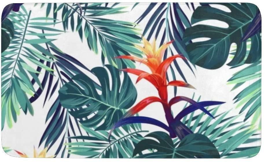 Floral Guzmania Flowers. Tropical Palm Tree Leaves Rug Doormat Indoor Outdoor Entrance, Anti-Slip Bath Floor Kitchen Rugs Door Mat 23.6 X 15.7 Inches Entryway Home Decor