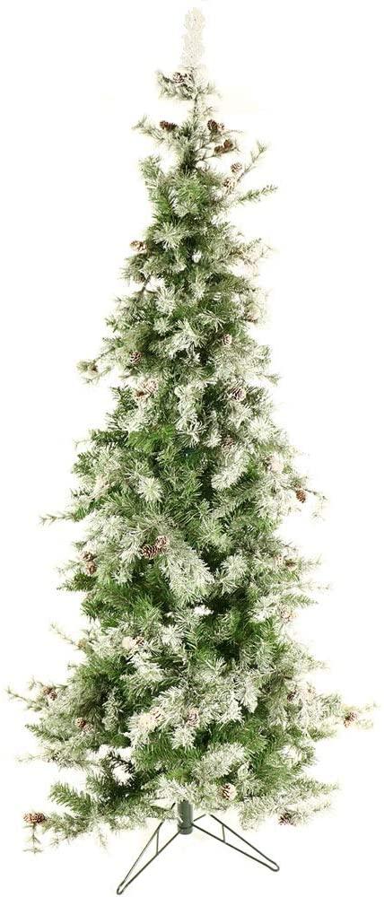 Fraser Hill Farm 7.5 Ft. Buffalo Fir Slim Artificial Multi-Color LED String Lighting Artifical Christmas Tree, Snow