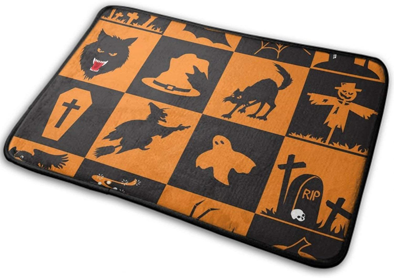 NiYoung Halloween Door Mats for Home Entrance (40cmx60cm) Fashion Ultra Soft Flannel - Bats Witch Skull Cross Black Cats