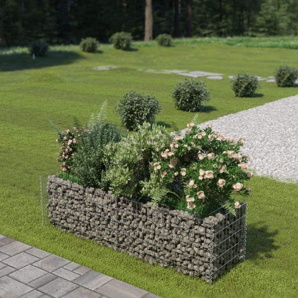Tidyard Gabion Planter Basket Outdoor Raised Garden Bed Plant Bed for Flower or Plant Galvanised Steel 70.9