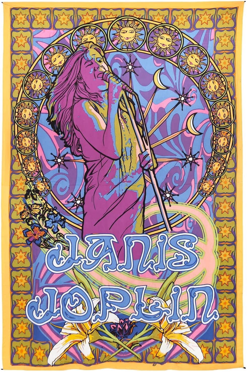 Sunshine Joy Janis Joplin Tapestry Hippie Wall Art Huge 60x90 Inches