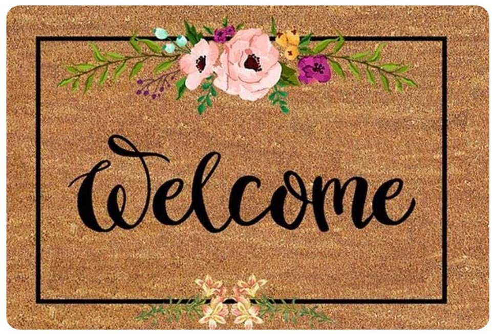 JEOCODY Welcome Doormat Flower Low-Profile Entrance Door Mat Thin Non-Slip Rubber Backing Rugs for Home Entrance Garage Offic,Brown