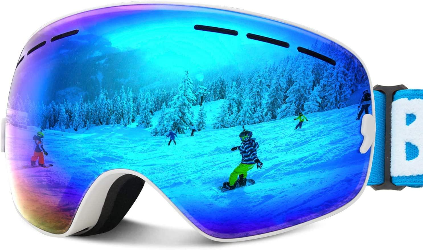 JOJO LEMON Ski Goggles for Kids Over Glasses Boys Girls Snow Sport Goggle Child Snowboarding Clear