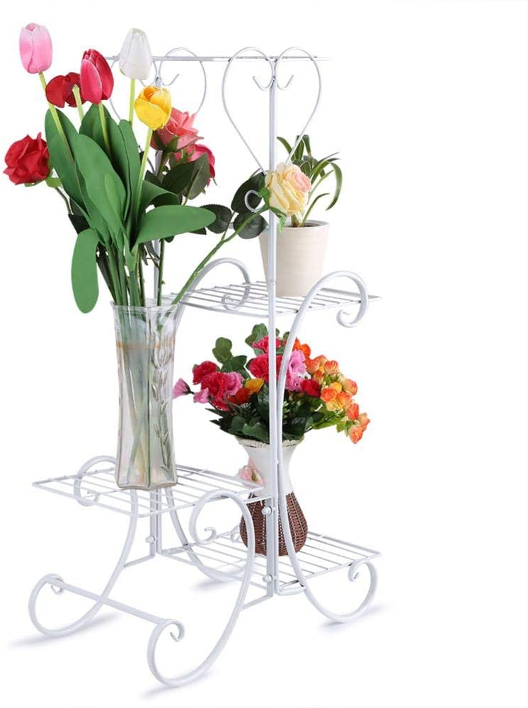 Plants Display Stand, 4 Tier Metal Flower Bonsai Shelf Plants Storage Rack for Indoor Outdoor Home Office Decor(White)
