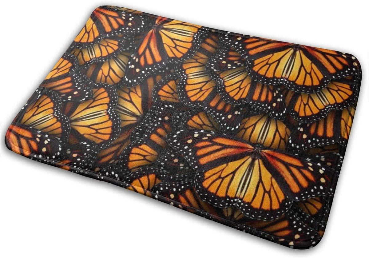 Heaps of Orange Monarch Butterflies Front Door Mats Non Slip Washable Indoor Outdoor Entrance Bathroom Door Mat 3D Printed Home Decor, Floor Rug 24X16 Inch
