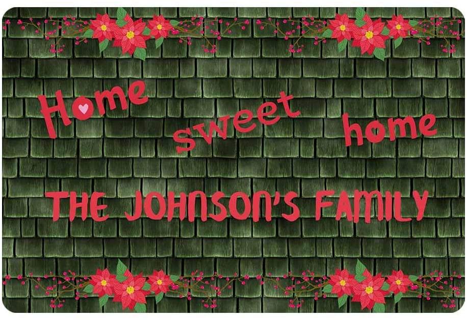 Custom Door Mat, Personalized Rug Pink Flower on Green Wooden Roofs Sweet Home Name Doormat Door Mat Floor Rug Indoor Outdoor Front Entrance Bathroom Living Room Non Slip Decor 24x16 Inches