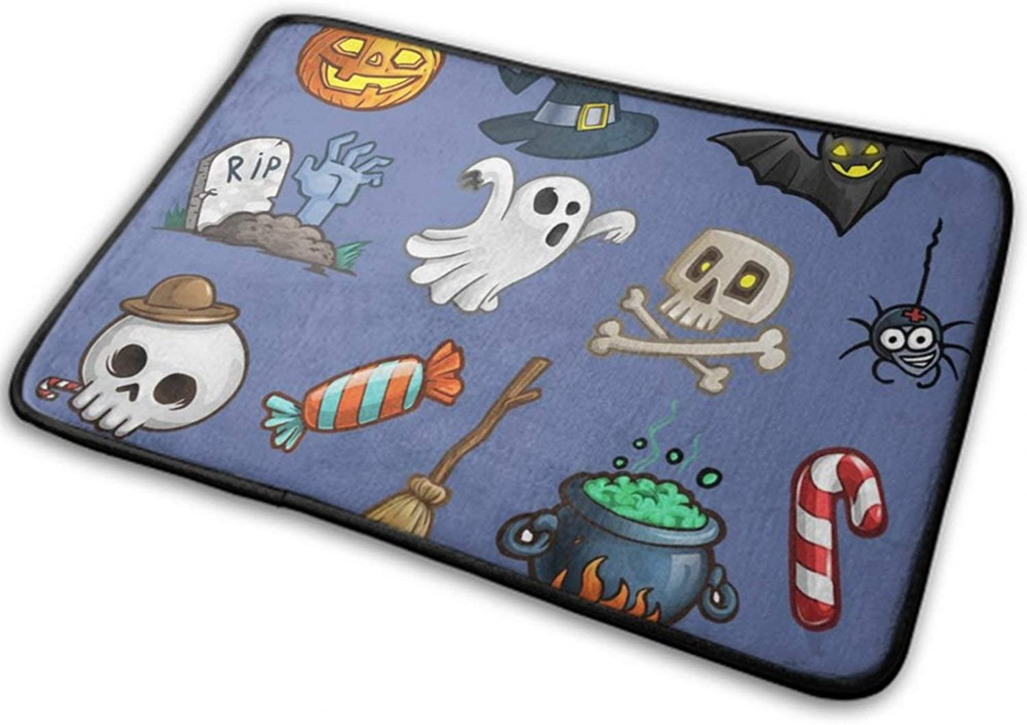 NiYoung Halloween Front Door Mat Outdoor Rugs (15.8 Inchx23.6 Inch) Funny Ultra Soft Flannel - Happy Halloween Party Patterns