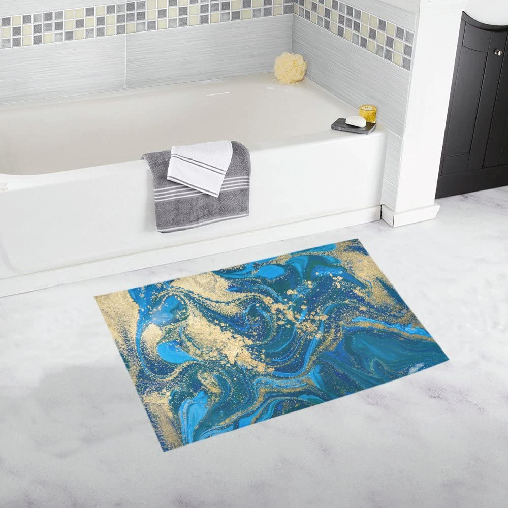 InterestPrint Abstract Blue and Gold Liquid Marble Stone Home Decor Non Slip Bath Rug Set Absorbent Floor Mats for Bathroom Tub Bedroom Large Size 20 x 32 Inches