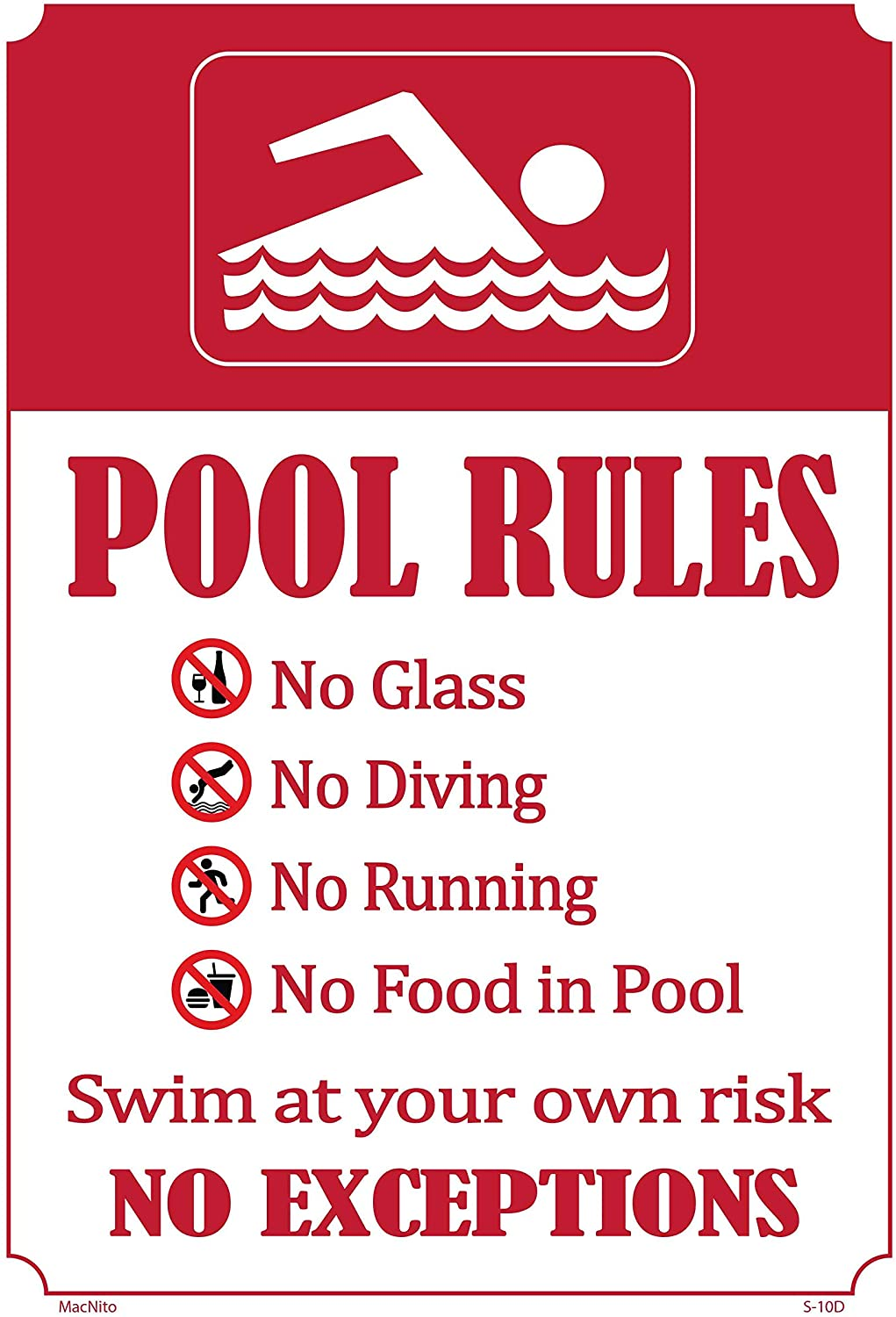 Pool Rules Sign – Pool Safety Sign, an Vivid Design Plus UV Protection to Last Longer, Rust-Free Plastic at 18