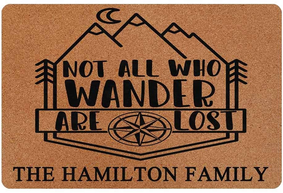 MyPhotoSwimsuits Personalized Your Family Name Custom Camper Doormat 24 X 16 Indoor Outdoor with Not All Who Wander are Lost Funny Entrance Welcome Door Mat Area Rug Decor