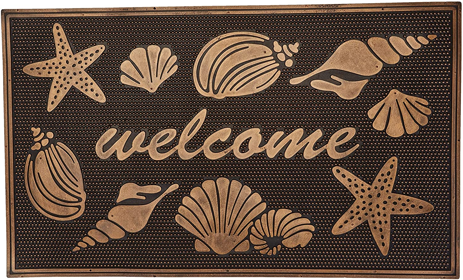The Lakeside Collection Beach Themed Rubber Welcome Doormat - Coastal Home Accent - Sea Shells