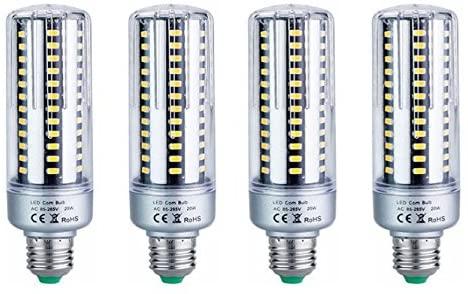 KLED 4Pack LED Corn Bulb, Super Bright, 20W (120W Equivalent), 1500 Lumen, 6000K (Cool White), LED Light Bulb, Medium Base E26, CRI 85+, for Garage Warehouse High Bay Barn Backyard (6000K, 20W)
