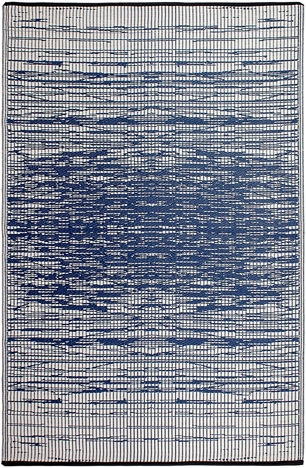 Fab Habitat Reversible Rugs - Indoor or Outdoor Use - Stain Resistant, Easy to Clean Weather Resistant Floor Mats - Brooklyn - Blue (4' x 6')
