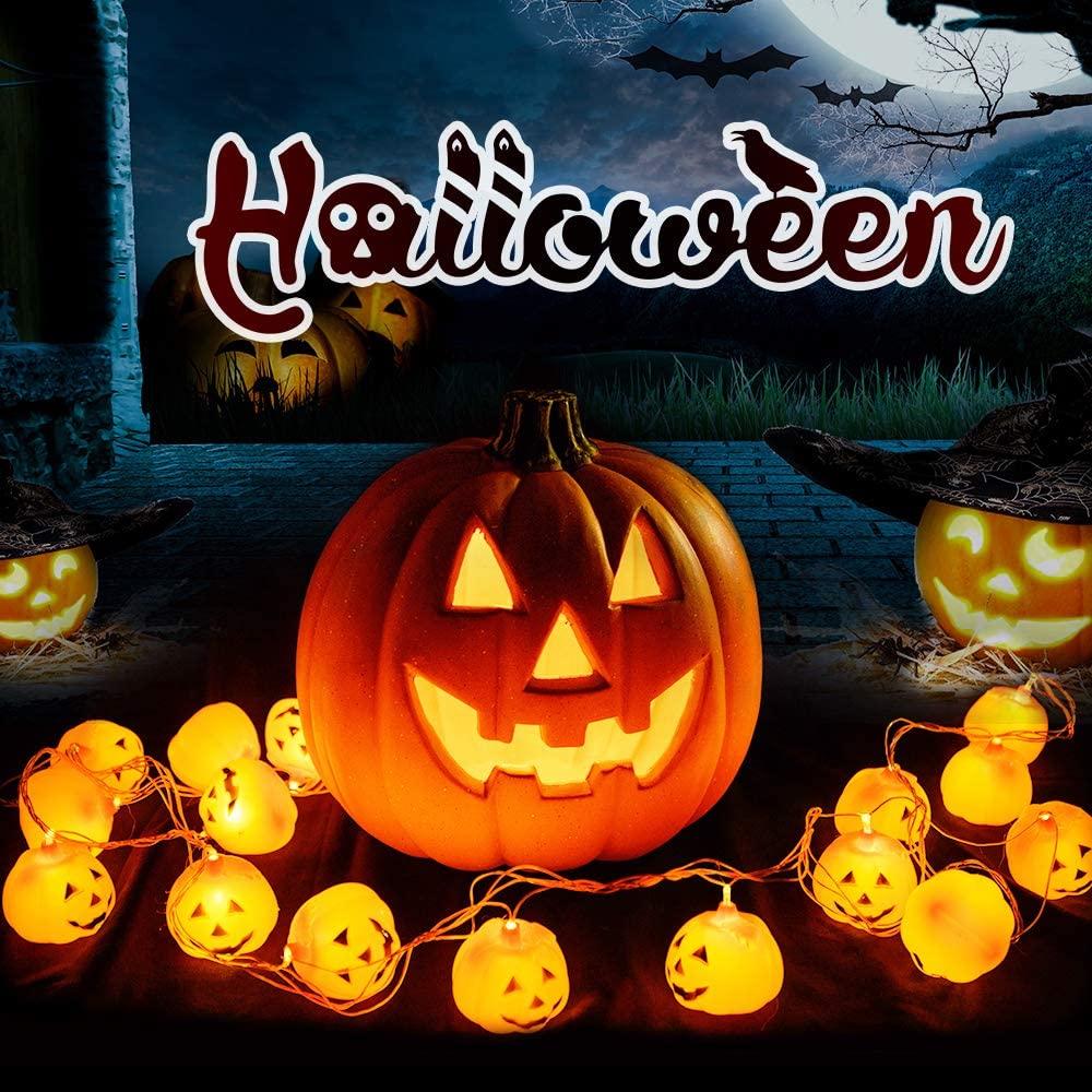 20 LED Halloween-Decoration-Lights-Outdoor, 6 Modes Solar Powered String Lights, LED Pumpkin Lights, Holiday Lights for Outdoor Decor, Outdoor Decorative Lights for Indoor/Outdoor Garden, Halloween