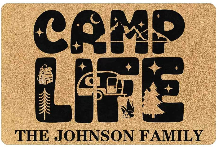 Custom Your Family Name Personalized Camper Doormat 24 x 16 Inches Indoor Outdoor with Camp Life Funny Entrance Welcome Door Mat Area Rug Decor