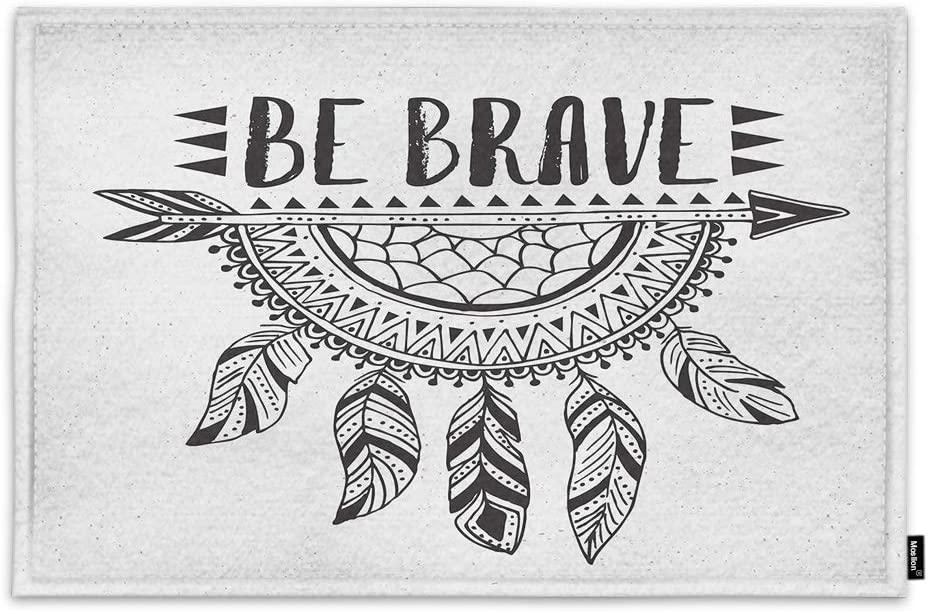 Moslion Boho Dreamcatcher Door Mat Be Brave Motivational Quote Arrow Feather Indian Tribal Art Non Slip Funny Doormat for Outdoor Indoor Decor Entry Rug Kitchen Bedroom Mat 15.7 x 23.6 Inch