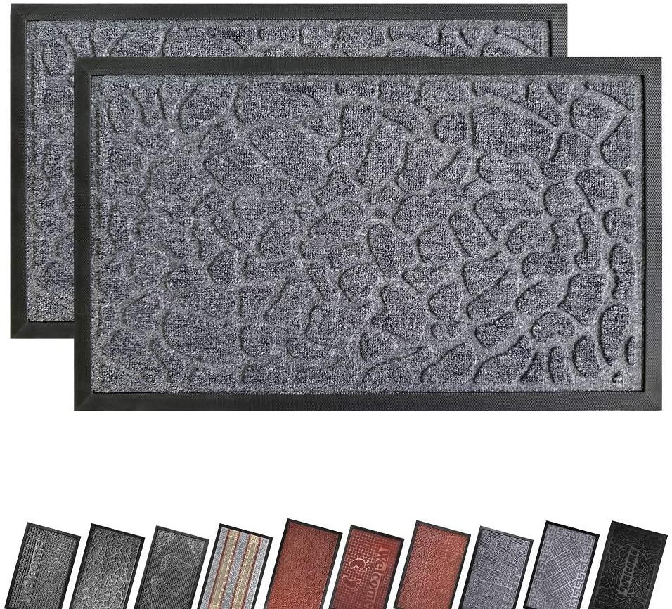 EZHOMEE Outdoor Rubber Welcome Door Mat(29.5