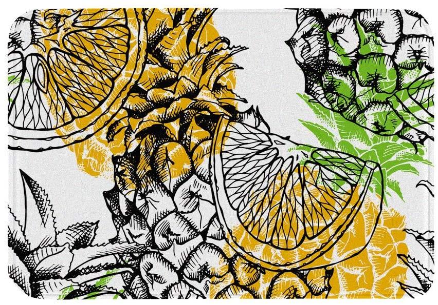 Hengjiang Fruit Pineapple Indoor Door Mat 40x60cm Floor Mat Thick Anti Slip Flannel Sponge Absorbent Doormat (07)