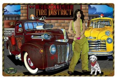 Old Time Signs Red Light Fire District Metal Sign Wall Decor 18 x 12