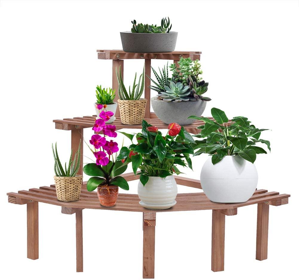 Plant Stand, 3 Tier Corner Flower Pot Stand Durable Natural Pine Wood Garden Rack Plant Display Shelf for Yard Garden Patio Balcony Living Room(Retro)