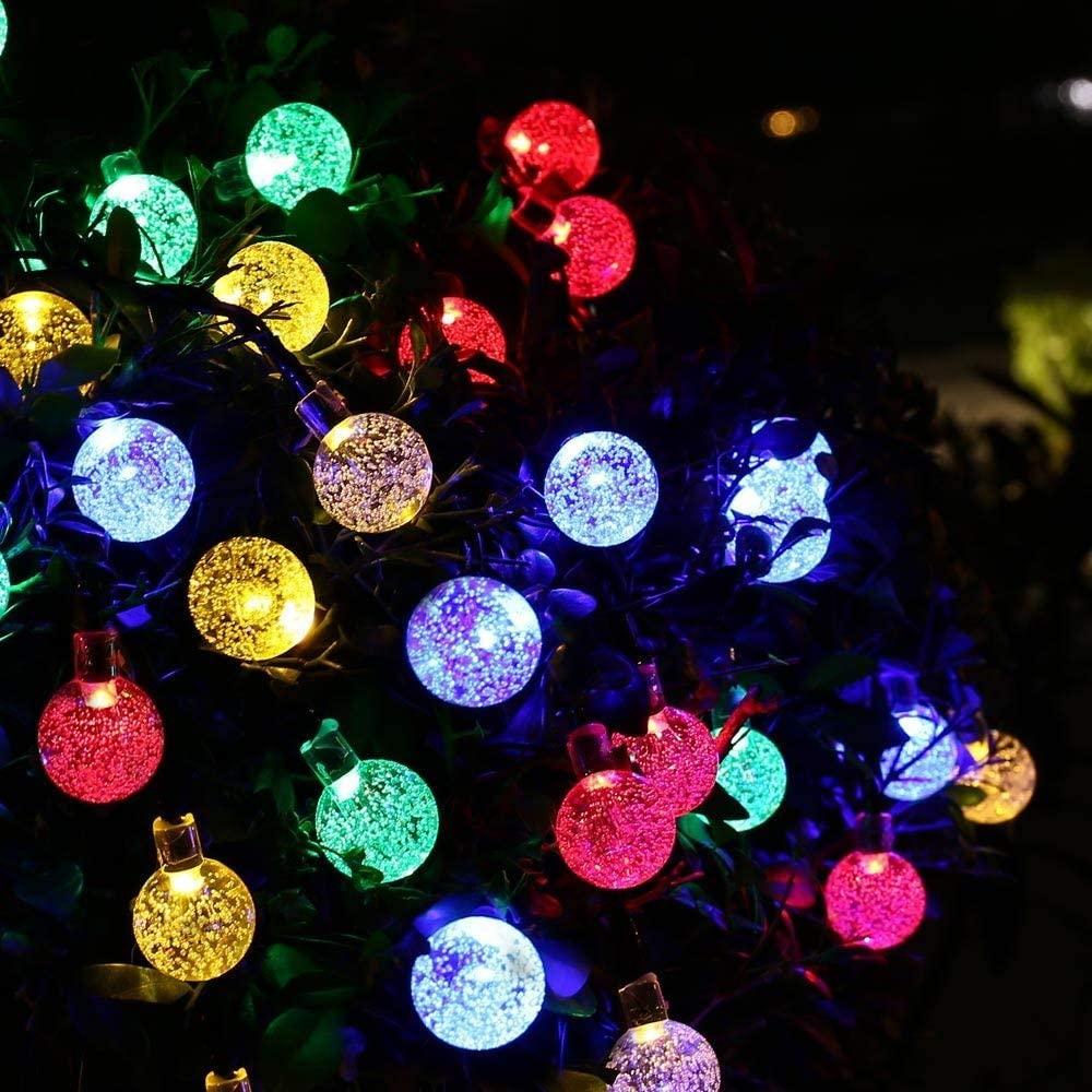 Solar String Lights Outdoor, ASTRAEUS 50 LED 9.5M/31Ft Waterproof Festival Solar Garden Lights Crystal Ball Decorative Fairy Lights for Garden Patio Yard Home Wedding Christmas Parties, (Multicolor)