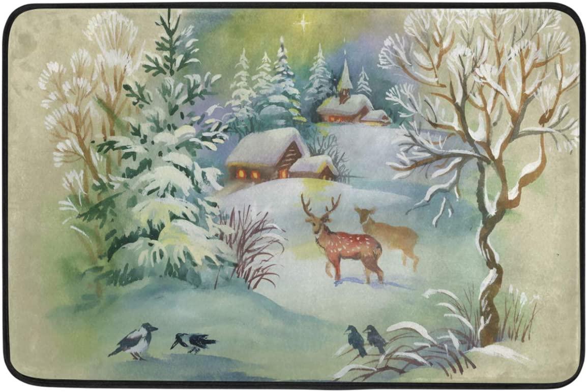Christmas Decorative Doormat Home Decor Winter Landscape Deers Birds Snowy Forest Welcome Indoor Outdoor Entrance Bathroom Floor Mats Non Slip Washable Winter Hoilday Pet Food Mat, 23.6 x 15.7 inch