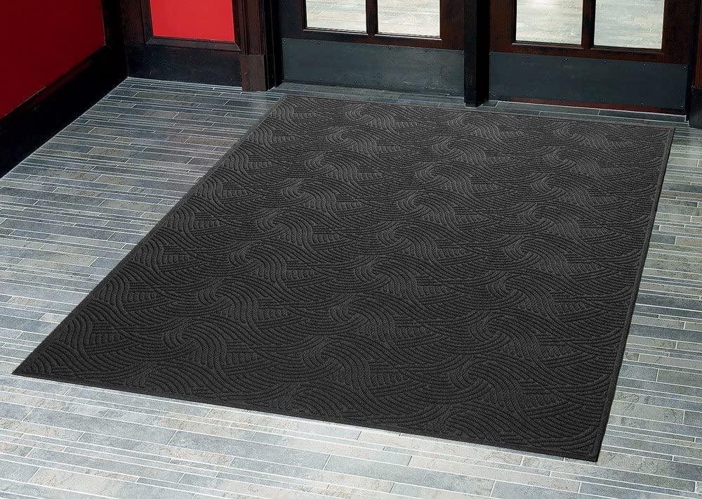 Consolidated Plastics Aquasorb Swirl Indoor/Covered Outdoor Heavy-Duty Entrance Floor Mat, Black, 35