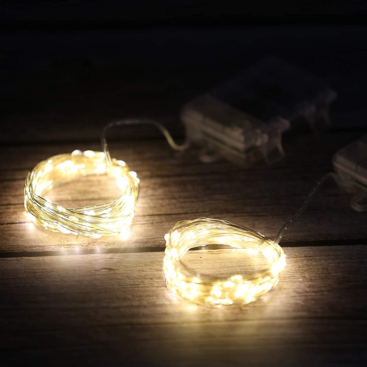 CLICIC Fairy String Lights with Remote 2 Packs USB Powered Copper Wire Starry Fairy Lights for DIY Wedding Party Christmas Warm Light