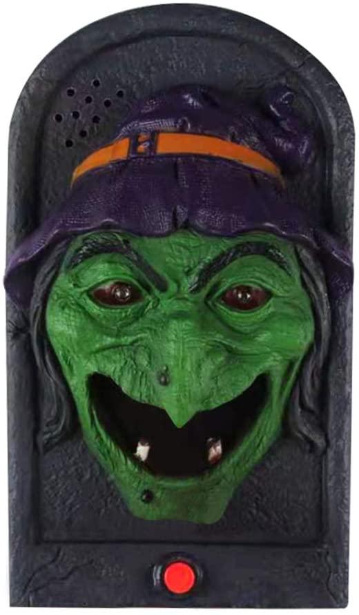 Forart Halloween Decorations Halloween Doorbell Animated Haunted Doorbell Skull Doorbell Prop with Light Up Eyeball and Scary Sounds for Halloween Party
