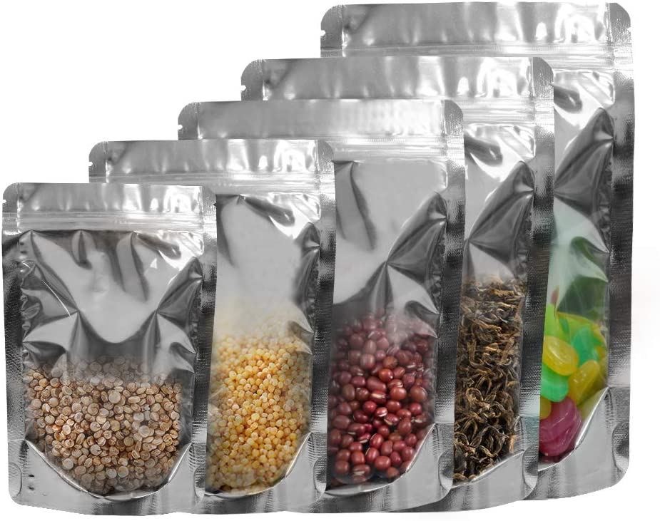 Mylar Bags Resealable Ziplock Stand Up Food Storage Aluminum Foil Bag 50 Pack Reusable Pouches 5 Different Sizes for Beans Coffee Cookie Snack Food Dried Flowers Tea