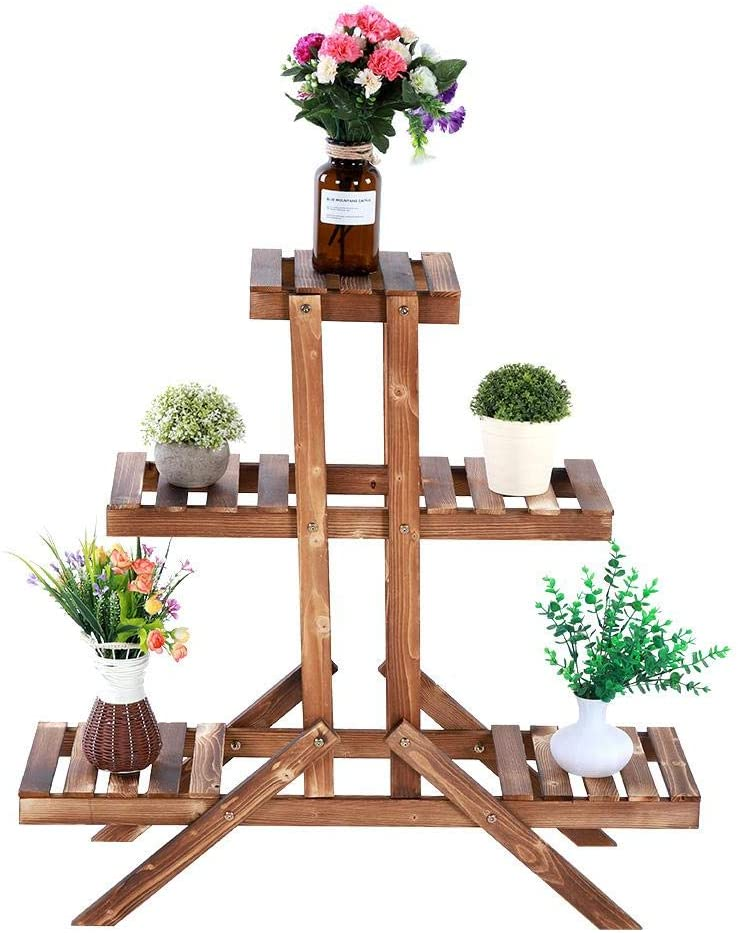 3 Tier Wood Plant Stand, 33inch High Widen 5 Potted Flower Pot Organizer Shelf Display Rack Holder for Indoor Outdoor Patio Garden Corner Balcony