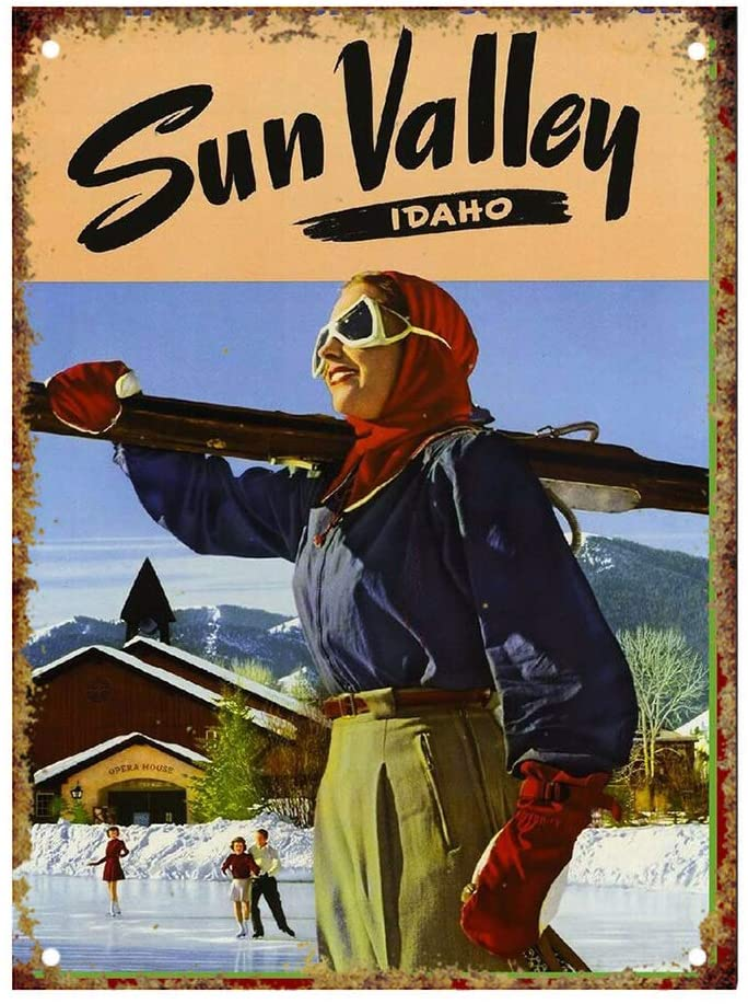 NOT Ski Sun Valley Tin Signs Metal Poster Warning Sign Decor for Garage Home Garden Retro Tin Sign Wall Birthday Party Bar Cafe Kitchen