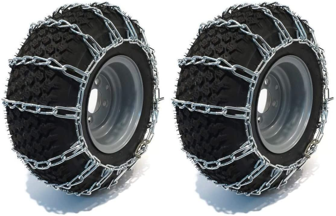 The ROP Shop | Pair of 2 Link Tire Chains26x11x12for Snow Blowers, Lawn & Garden Tractors, Mowers & Riders, UTV, ATV, 4-Wheelers, Utility Vehicles