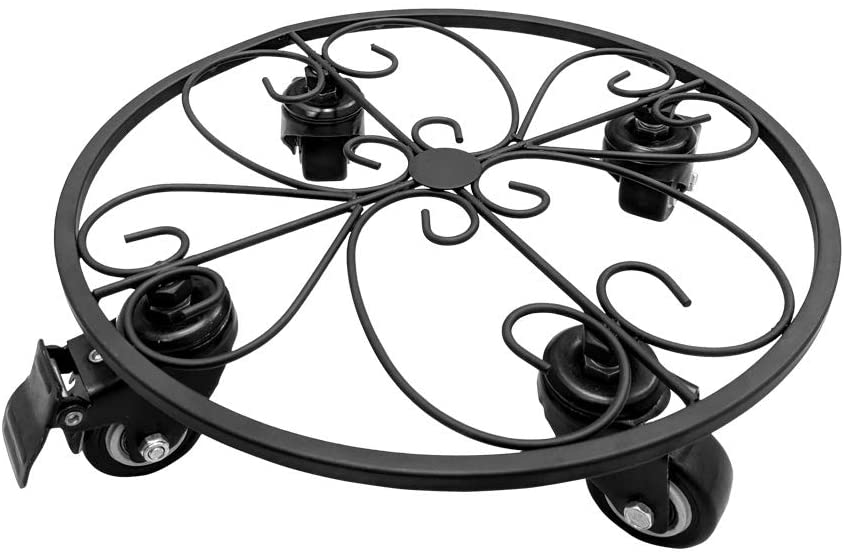 Iron Potted Plant Stand on Steel Casters (no Plastic), Metal Plant Stand on Rollers, Flower Pot Trolley, Round Plant Caddy, Planter Movers with Locking Round Wheel, Plant Caddie, Pot Dolly