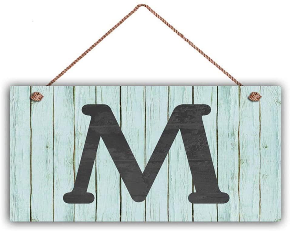 MAIYUAN Rustic Letter Sign, Personalized Sign, Choose Monogram Letter, Vintage Blue Wood Slat Style, Housewarming Gift, 5