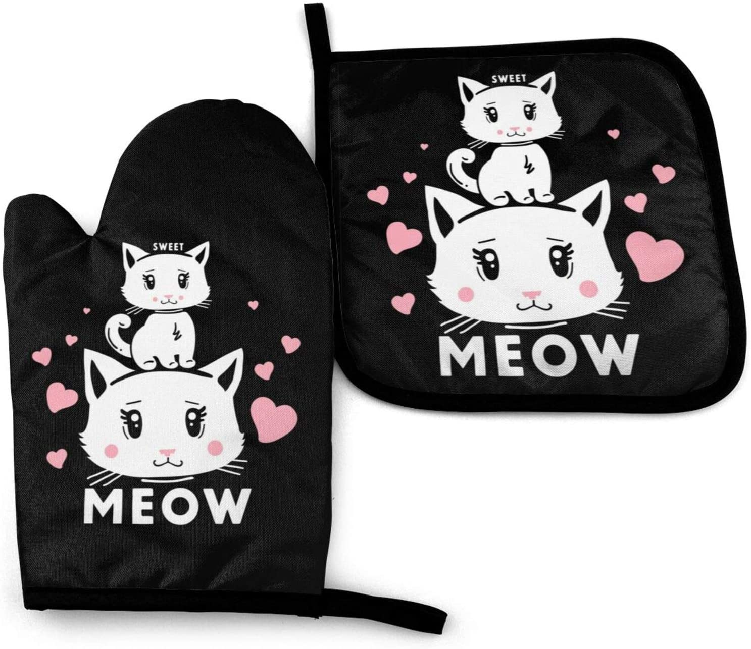 Sweet Cat Meow Oven Mitts and Pot Holders Sets Heat Resistant Oven Gloves with Non-Slip Surface for Reusable for Baking BBQ Cooking