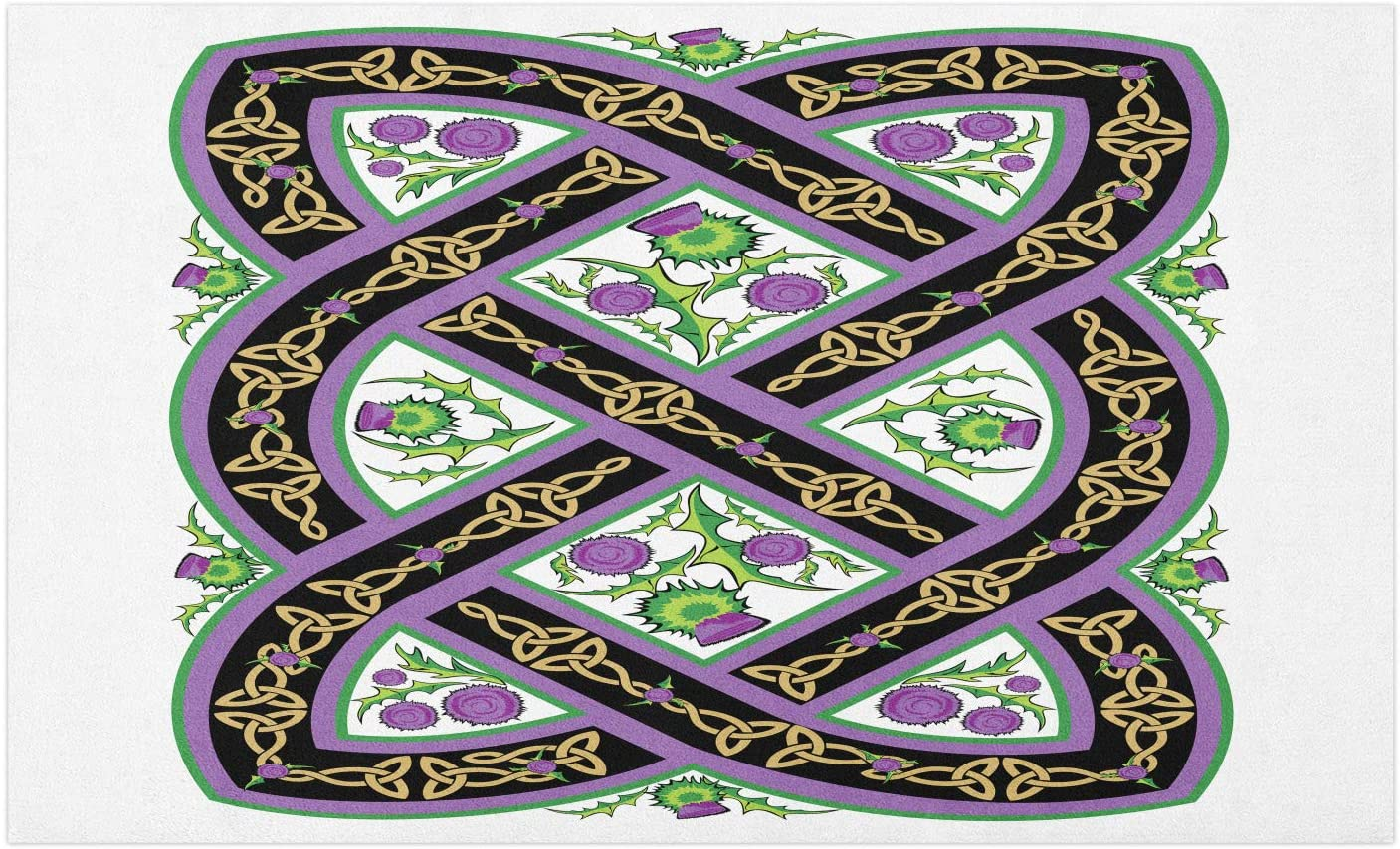 Ambesonne Scotland Doormat, Celtic Traditional Royal Pattern with Flowers Thistle Culture Ornamental Art, Decorative Polyester Floor Mat with Non-Skid Backing, 30