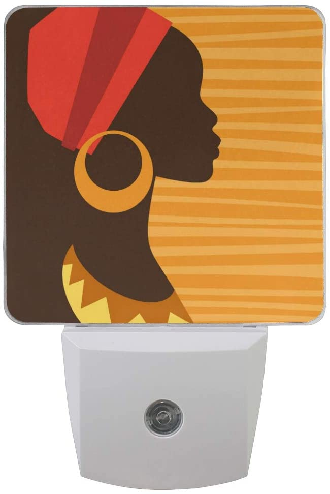ALAZA 2 Pack LED Night Light, Silhouette of African Girl in Profile with Earring Auto Sensor LED Dusk to Dawn Night Light Plug in for Bedroom, Bathroom, Kitchen, Hallway