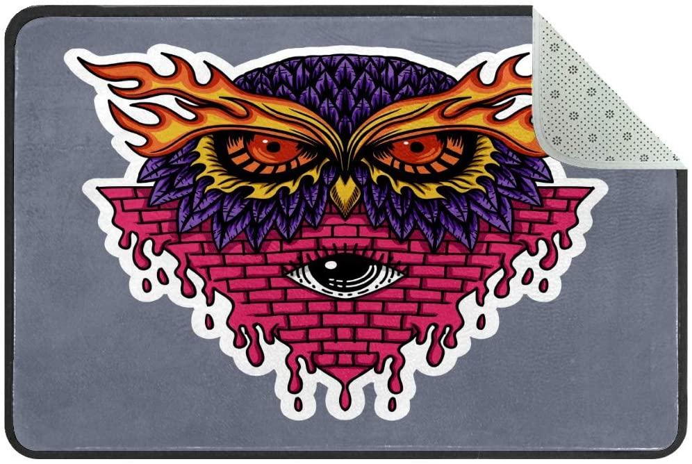 Owl Head Stickers Doormat Rug Easy to Clean Non Slip Backing Entry Way Doormat Floor Mat for Patio Front Door Entry Garage Kitchen Bathroom Laundry Room All Weather Indoor/Outdoor