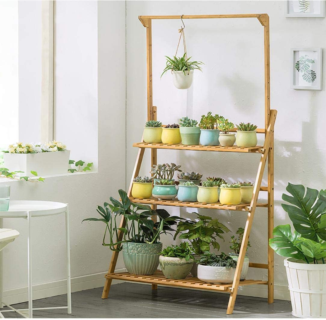 Bamboo Hanging Plant Ladder Stand, 3 Tier Foldable Plant Holder with Hanger Rod, Flower Pots Display Shelf, Modern Plants Organizer Rack for Indoor, Outdoor, Balcony, Patio, Lawn, Garden (Wood Color)
