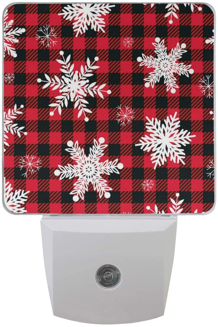 Vdsrup Winter Snowflakes Night Light Set of 2 Red Black Check Buffalo Plaid Christmas Plug-in LED Nightlights Auto Dusk-to-Dawn Sensor Lamp for Bedroom Bathroom Kitchen Hallway Stairs